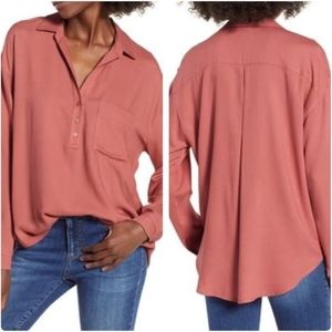 Lush Slouchy Pocket Henley High Low Rayon Blouse